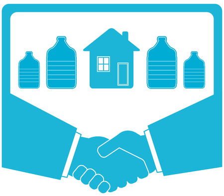 blue bottle, handshake, house - water supply symbol Vector