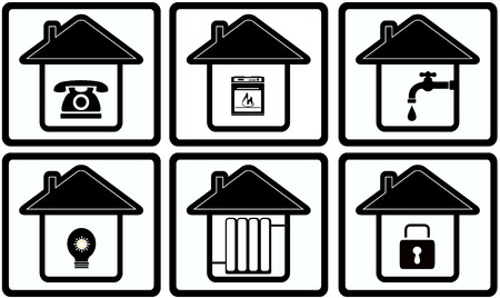 stove pipe: set black icons with house and home appliance