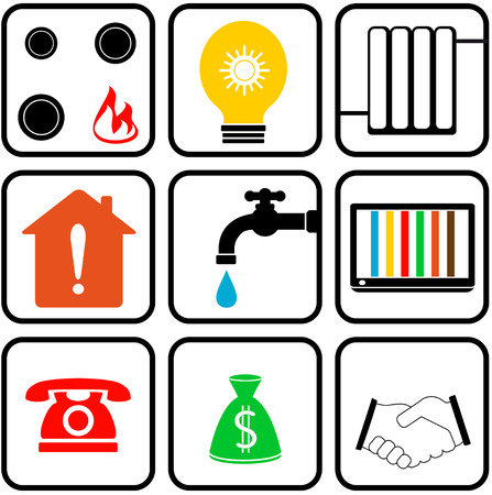 stove pipe: set colorful icons with isolated home appliance
