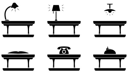 formalization: set isolated icon - table icon for living room, food and office