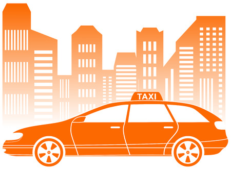 yellow taxi car with urban landscape icon Vector