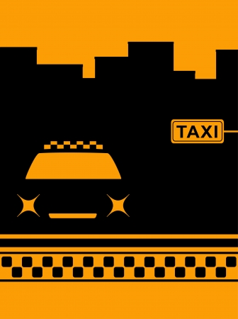 urban background with night cab car and taxi stop Vector