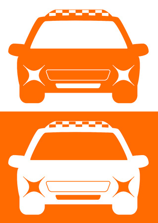 set isolated yellow and white taxi car Vector