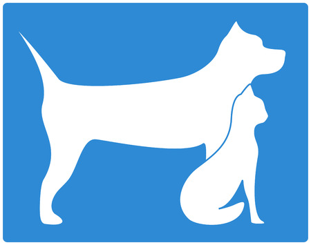 cat toy: blue pet icon with dog and cat silhouette
