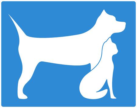 icono azul del animal doméstico con el perro y el gato silueta Foto de archivo - 24193809