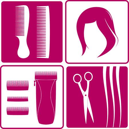 peluca: establecer iconos para peluquer�a Peluca, pelo, tijeras, peine y esquilador Vectores