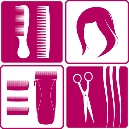 cosmetology: set icons for hair salon  Wig, hair, scissors, comb and shearer Illustration