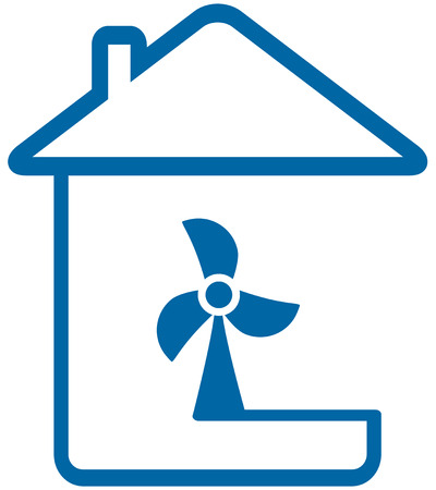 blue isolated icon with home and table fun Illustration
