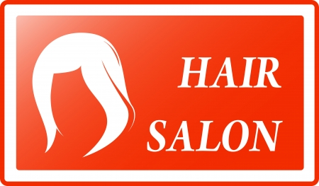 salon background: red visiting - hair salon background and women s hairstyle Illustration