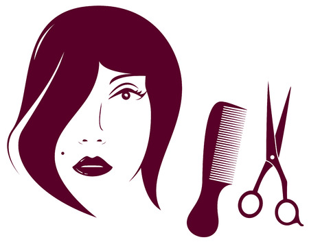 beauty woman face with comb and scissors - barbershop symbol Stock Vector - 24384933