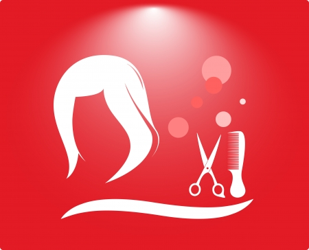 scissors comb: hair salon background with woman head, scissors and comb Illustration
