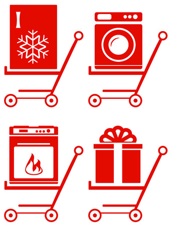set red home appliance on shoping cart Vector