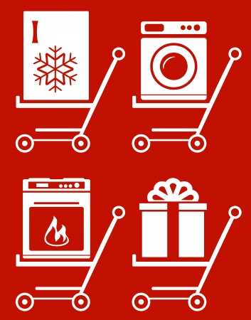 set shopping cart with home appliance on red background Vector