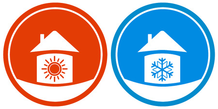 set two icons with sun and snowflake on house Vector