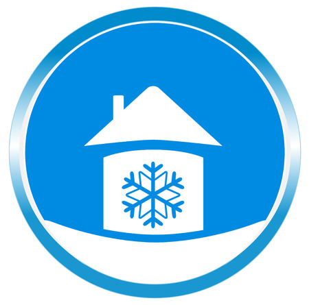 blue button snowflake in home white silhouette Vector