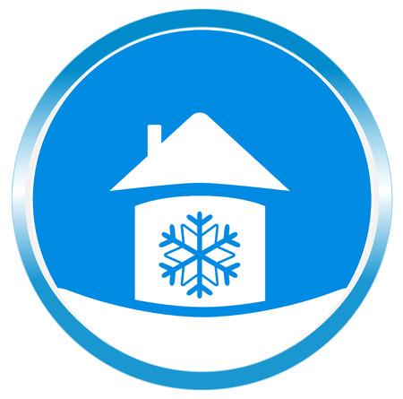Botón de copo de nieve azul en casa silueta blanca Foto de archivo - 24505236