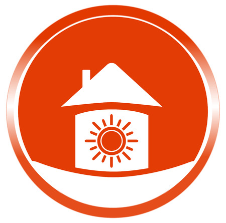 red button with sun in home  warm in home symbol Vector