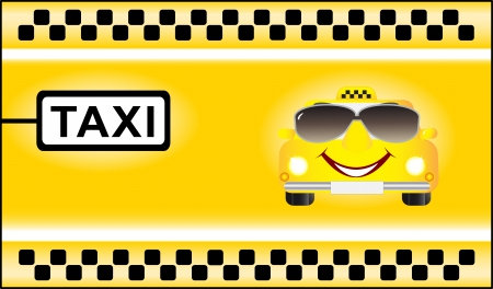 background with cartoon car on taxi stop Vector