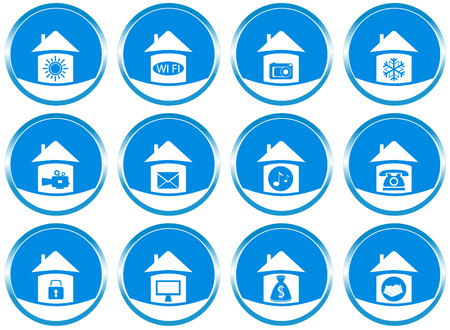 set blue icons with modern technology objects for web site design Vector