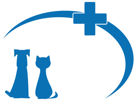 veterinary symbol: blue silhouette dog and cat on veterinary symbol Illustration