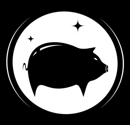 schmalz: schwarzen Hintergrund mit Schwein-Symbol - Lebensmittel Fleisch Symbol