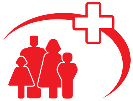 red symbol - medical cross with family Vector