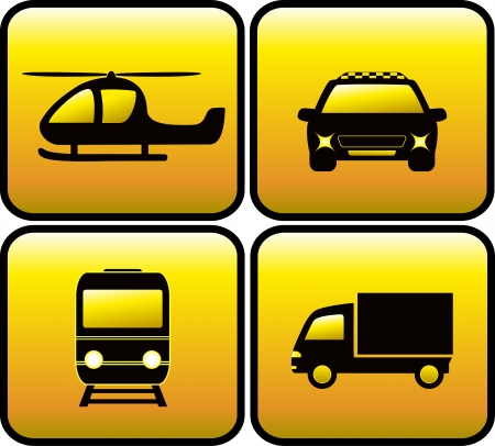 set yellow icons with black transport silhouette Vector