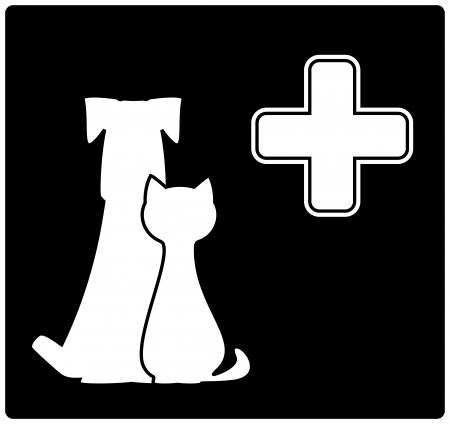 veterinary icon with medical cross, dog and cat Vector