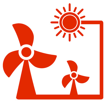 windmill icon with sun  alternative energy symbol Vector