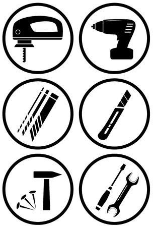 mat�riel chantier: �quipements mis en ic�ne de la construction pour la r�paration ou le travail � domicile