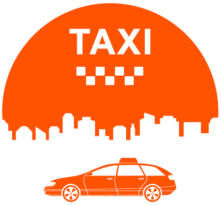 icon with city and cab - taxi city symbol Vector