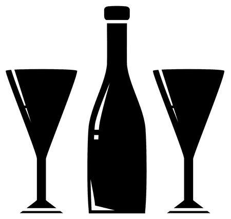 black silhouette two glass and wine bottle Vector