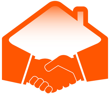 handshake with roof - construction or real estate symbol Stock Vector - 24829617