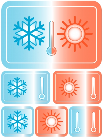 set red and blue weather icons with sun, snowflake and thermometer