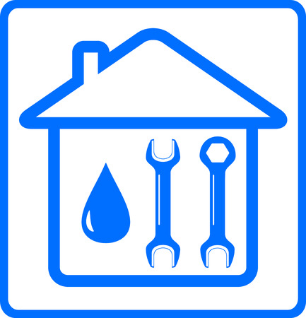 upkeep: repair plumbing symbol with water drop, wrench on home