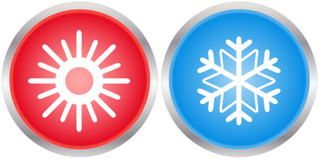 set glossy season icons with sun and snowflake Vector