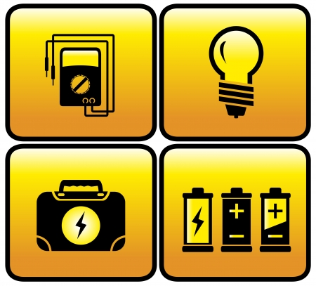 alternating current: for electricity icons - glossy electrical button set