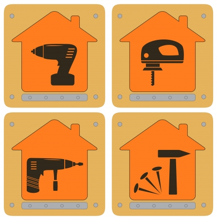 filings: set repair planch icons with house and tools Illustration