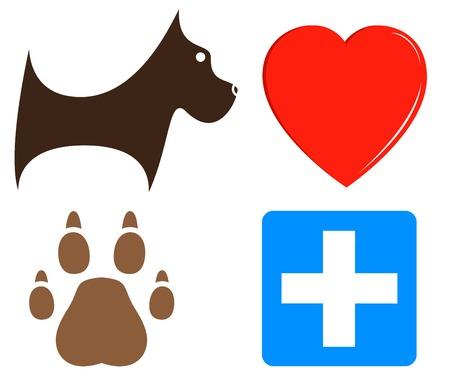 set cartoon veterinary icons for pet help Vector