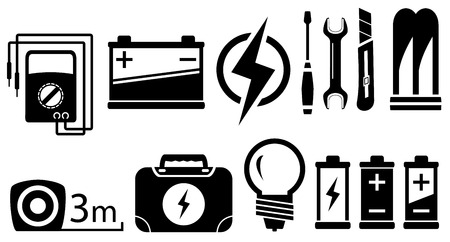 alternating current: set of black isolated electrical objects and tools