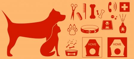 veterinarian set with isolated objects for pet Vector