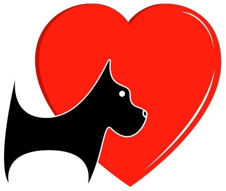 veterinary icon with dog and big heart Vector