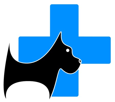 veterinary symbol: isolated veterinary icon with dog and blue medical cross Illustration