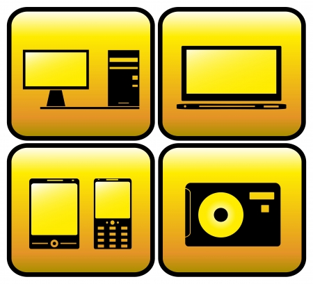 glossy set computer, tv, photo and smartphone Vector