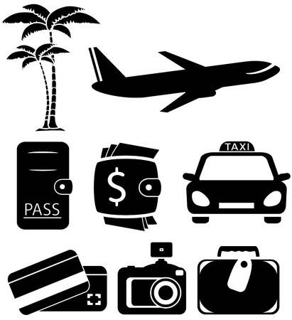 black icons set isolated objects for travel Vector