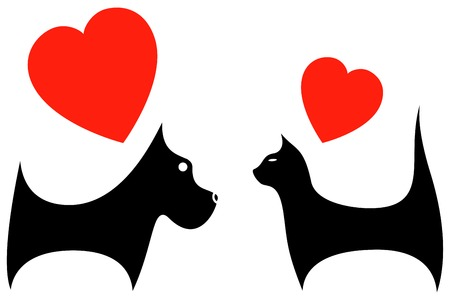 icon with pet silhouette dog and cat lover Vector