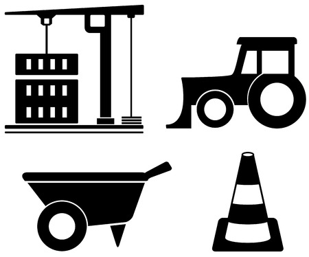 black isolated industrial set with construction objects Vector