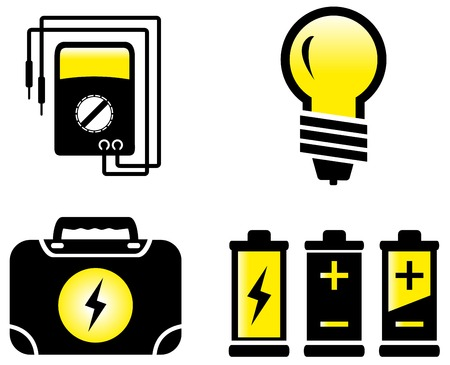 alternating current: isolated set of glossy modern electrical objects