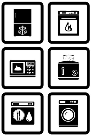 set black icons of household appliances for home Vector