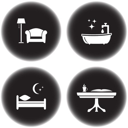 set of round icons for hotel services Vector